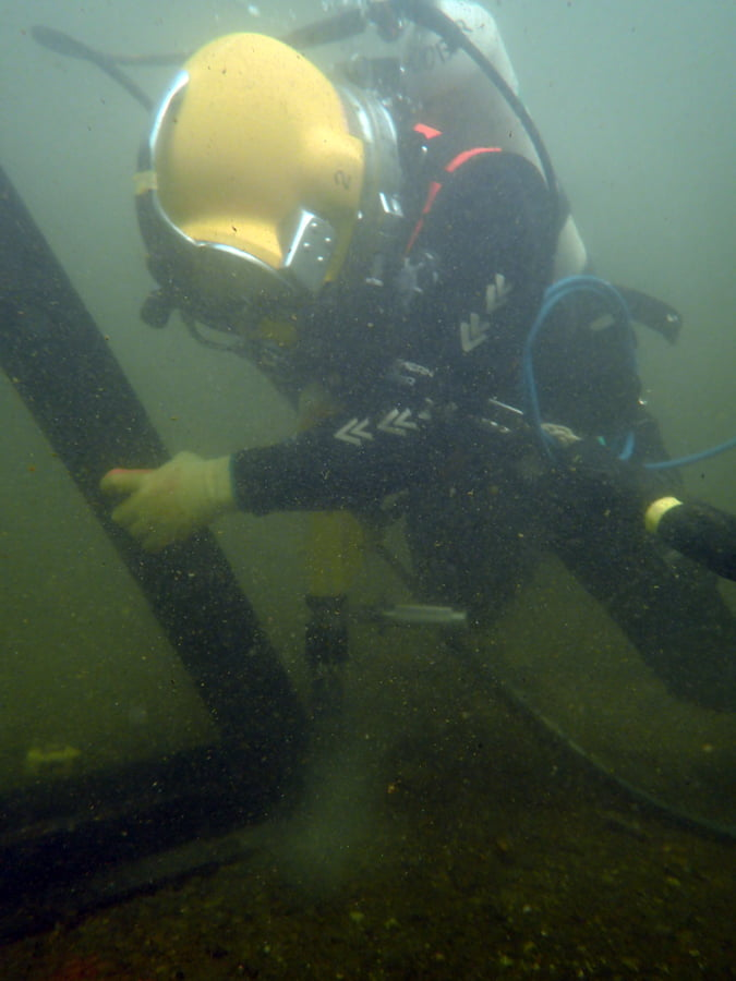 submerged stop log installation