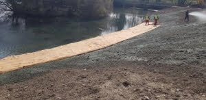 Caerphilly Castle hessian matting being laid